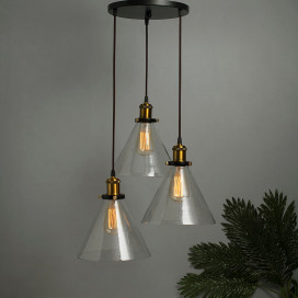 3-Lights Round Cluster Chandelier Modern Glass Cone Shaped Hanging Light, E27 Holder, Decorative, Copper, URBAN Retro, Nordic Style, LED/Filament Bulb
