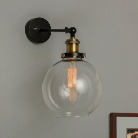 Edison Industrial Glass Globe Wall Lamp, Antique Vintage Industrial Loft, E27 Holder, Decorative, Swing Wall Light, Filament/LED