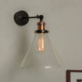 Edison Industrial Glass Cone Wall Lamp, Antique Vintage Industrial Loft, E27 Holder, Decorative, Swing Wall Light, Filament/LED