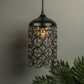 Matt Black Quad Crystal Hanging Cylinder Light, Ceiling Light, Nordic E27 Pendant, Large