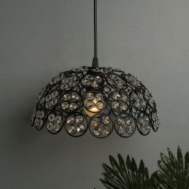 Matt Black Quad Crystal Hanging Hemisphere Light, Ceiling Light, Nordic E27 Pendant, Large