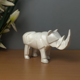One Horned Rhino Glossy White Decorative Aluminium Statue, showpiece Figurines Items for Office Desk Living Room Drawing Room Bed Room Home Decor Office Gifts