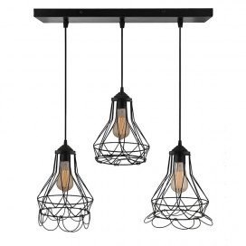 3-Lights Linear Cluster Chandelier Folding Black Diamond Hanging Pendant Light, Modern Nordic Ceiling Pendant, Bulbs Not Included