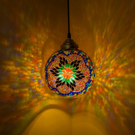 Turkish Moroccan Mosaic Star Ceiling Hanging Light Chandelier Pendant Fixture Lantern, Handmade Glass Lamp, MULTI COLOR