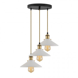3-Lights Round White Cone Shade Cluster Chandelier Hanging Light, Decorative, Black, Kitchen Area and Dining Room Light, LED/Filament Light
