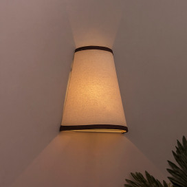 Wall Mounted Sconce Shade Lamp, Door Light E27, Khadi Fabric with Dark Brown Stripes, Cone, Modern Wall Light