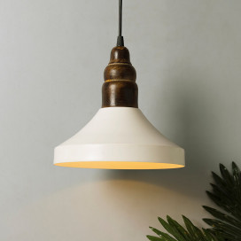 Parker Metal Wood Pendant Light, White Metal Hanging Ceiling Light, Step