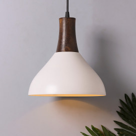 Nate Metal Wood Pendant Light, White Metal Hanging Ceiling Light, Pyramid