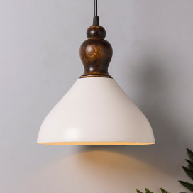 Nate Metal Wood Pendant Light, White Metal Hanging Ceiling Light, Bell