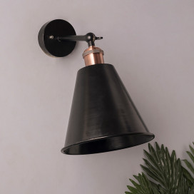 Edison Wall Black Gaurd Shade Lamp, Vintage Industrial Loft, E27 Holder, Decorative, Black Swing Wall Light