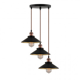 3-Lights Round Cone Shade Cluster Chandelier Hanging Light, Decorative, Black, Kitchen Area and Dining Room Light, LED/Filament Light