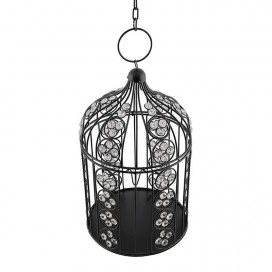 Black Bird Cage Crystal Effect Decorative Table Stand, Hanging Stand Balcony Living Room Office