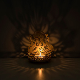 Set of 2 Shadow Sri Ganesh Metal Tea Light Holder, Brass finish Puja Diwali candle Holder with Free Wax diya