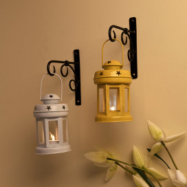 Wall Star Light Decorative Metal Lantern Indoor/Outdoor Hanging Lantern, Set of 2 Designer Candle Tealight Holder with Wall Hook,  Yellow White