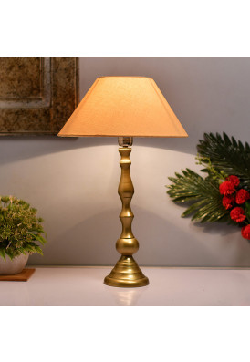 Teardrop Gold Brushed Lamp with Golden Shade