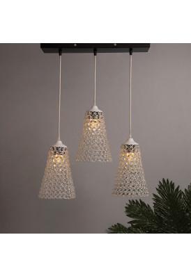 3-lights Linear Cluster Chandelier Crystal Cone Hanging Pendant Light with Braided Cord