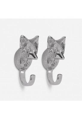Handmade Fox Head Wall Hook Decorative - Antique Aluminium Wall Mounted Utility Hooks - Large Decorative Heavy Duty Hooks For Mounting, Set of 2