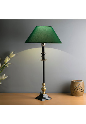 Classic Imperial Black Golden Riveria Table Lamp, White Shade