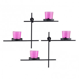 Black Scorching Ladder with Pair of Votive Pink, Wall Hanging Candle Tealight Holder, Set of 2