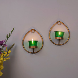 Set of 2 Decorative Golden Drop Wall Sconce/Candle Holder With Green Glass and Free T-light Candles