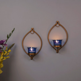 Set of 2 Decorative Golden Eye Wall Sconce/Candle Holder With Blue Glass and Free T-light Candles