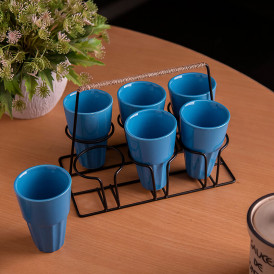 Chai Glass With Stand, Ceramic Chai Glass (6 Glasses), Blue