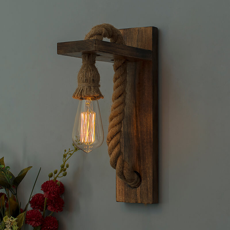 Rope Wall Lamp with Wooden Stand, E27 Holder with LED Filament Bulb, Decorative, Urban Retro Style, Antique Wood