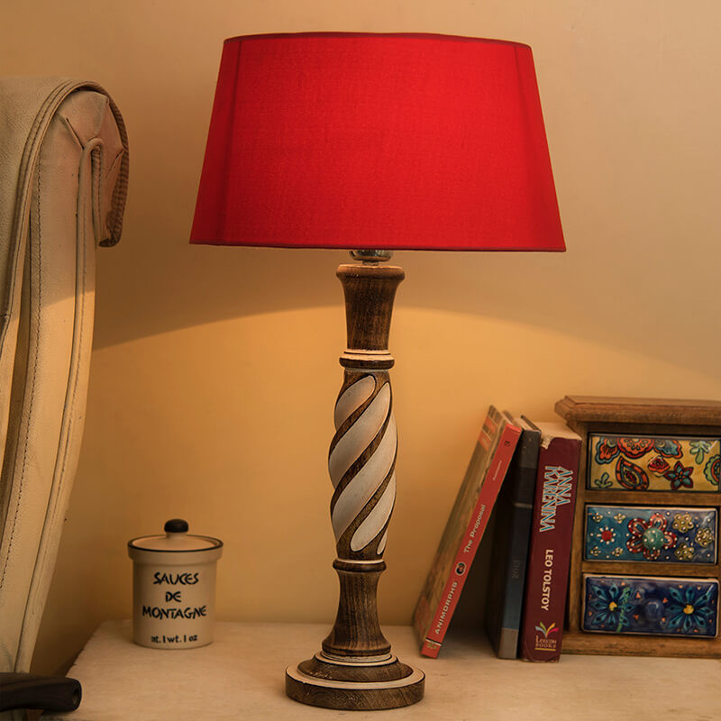 Antique White Twister Wooden Table Lamp with Red Shade