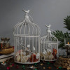 Decorative White Bird Cage with Floral Vine (Set of 2), with Hanging Chain