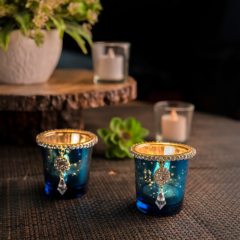 Silver Glass Votive with Jewel Ring and Dangler Blue