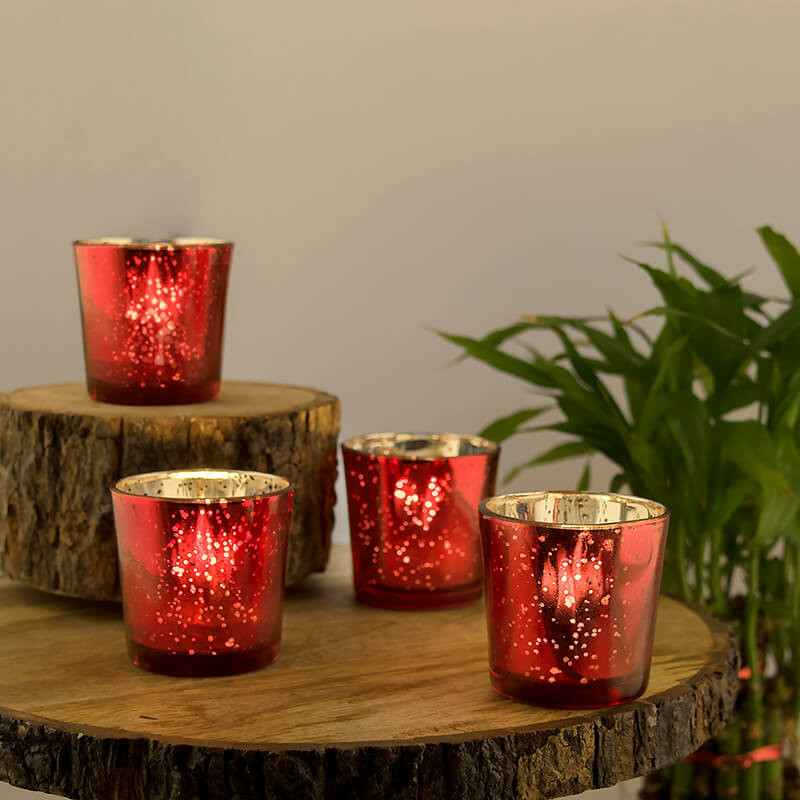 Cardinal Red Mercury Silver T-light holder, Glass Candle Holder Stand with Free Candle