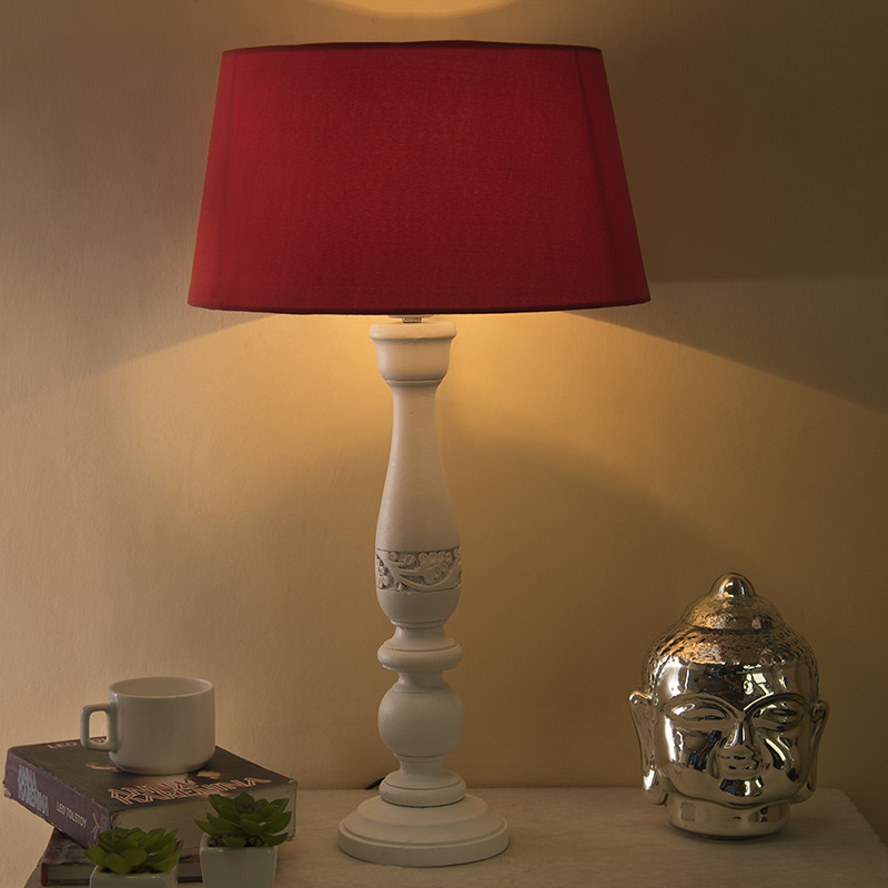 Floral Carved White Wood Table Lamp With Red Shade