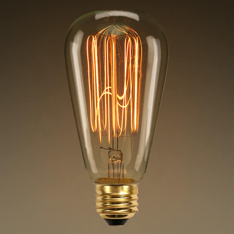 ST64 Pear Shape Edison Filament Bulb Squirrel Cage, Antique Edison E27 Tungsten Bulb, 1 Piece