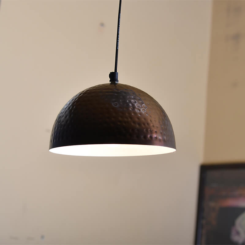Antique Copper Hammered Pendant, Hanging Lamp, 8""
