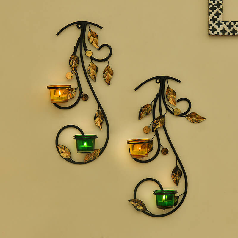 Wall Hanging Leafy Vine Candle Stand, Wall Scone with Green and Yellow Glass and Candles