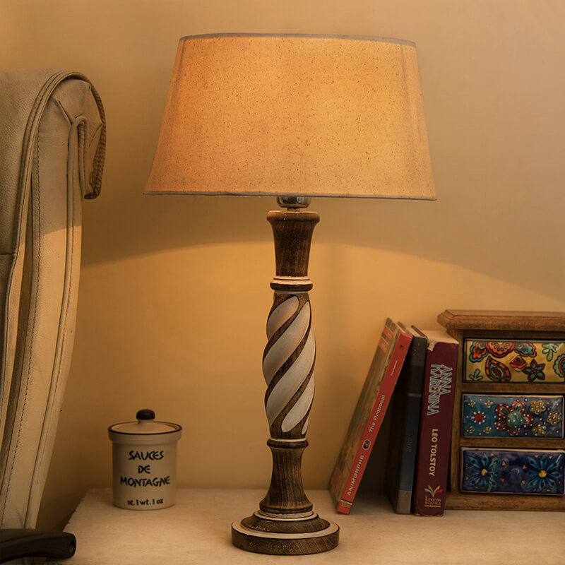 Antique White Twister Wooden Table Lamp with Khadi Drum Shade