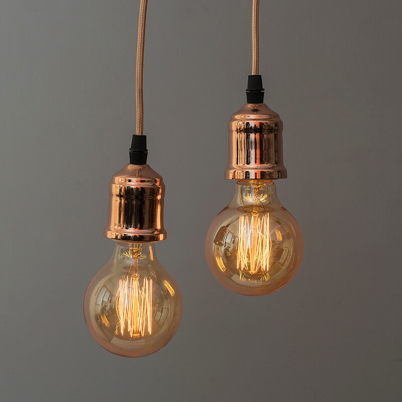 Edison Filament Rose Gold Bulb Holder, Urban, Retro, Nordic style, With Fixture, Rose Gold, Set of 2