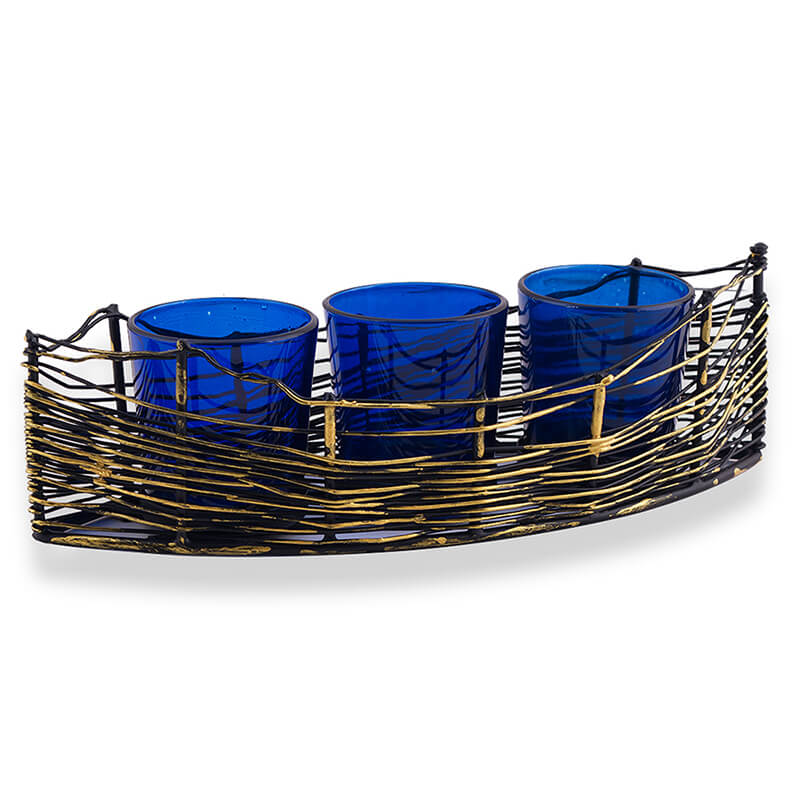 Wire Cruise Three Votive Stand Blue