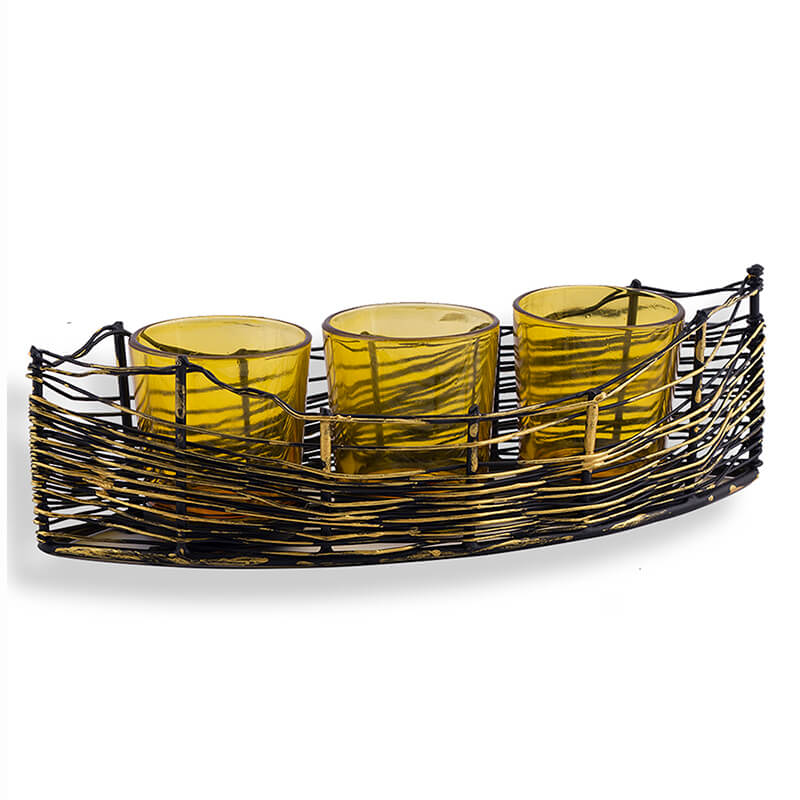 Wire Cruise Three Votive Stand Yellow
