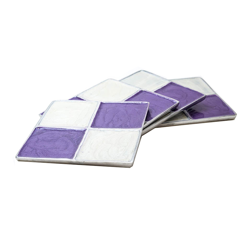 Cream-n-Lavender Square Aluminium Coaster (Set of 4 pc)