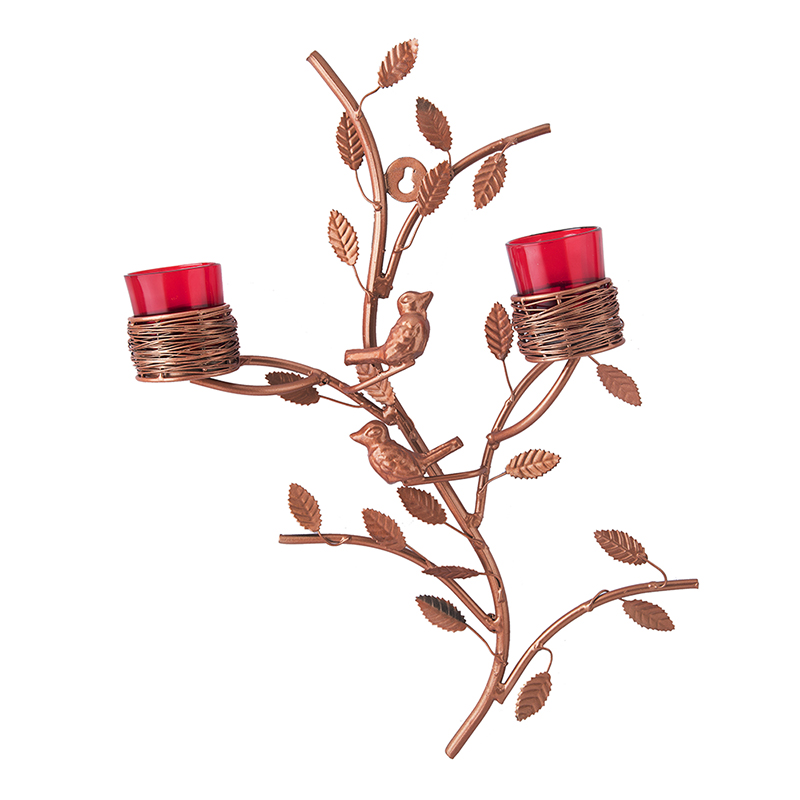 Copper Tree with Bird Nest Votive Stand Red, Wall Candle Holder and Tealight Candles, Rose Gold