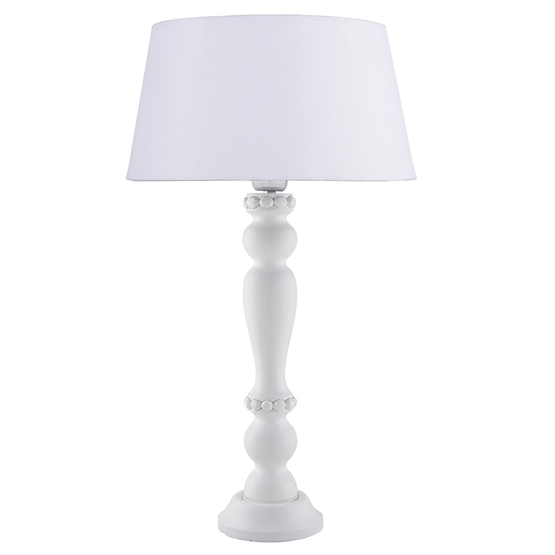 Eureka Polka White Wood Table Lamp With White Drum Shade