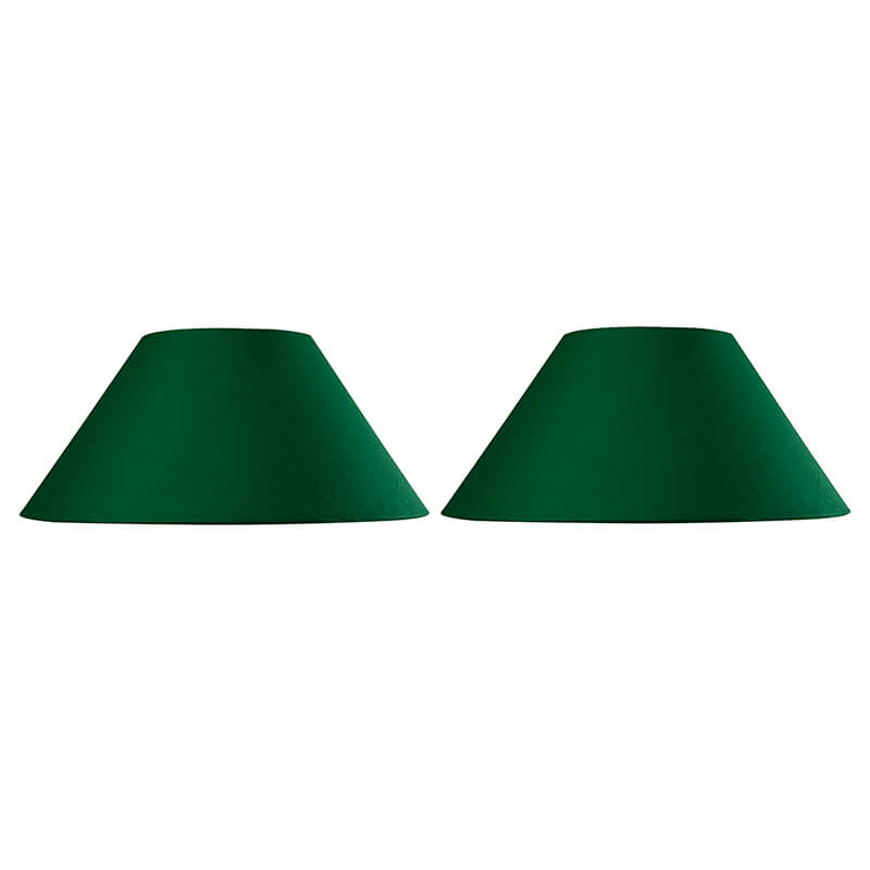 Classic Green Cone Cotton Shade, Set of 2 (For E27, E14 and B-22 Base)