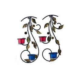 Wall Hanging leafy vine candle stand, Wall Sconce with Blue and Red Glass and Candles