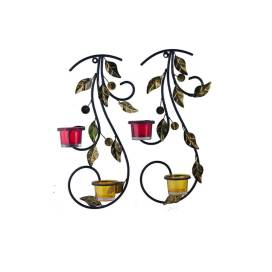 Wall Hanging leafy vine candle stand, Wall Sconce with Red and Yellow Glass and candles