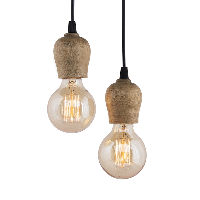 Edison Filament Wooden Bubble Bulb Holder, Urban, Retro, Nordic Style, with Fixture, Set of 2
