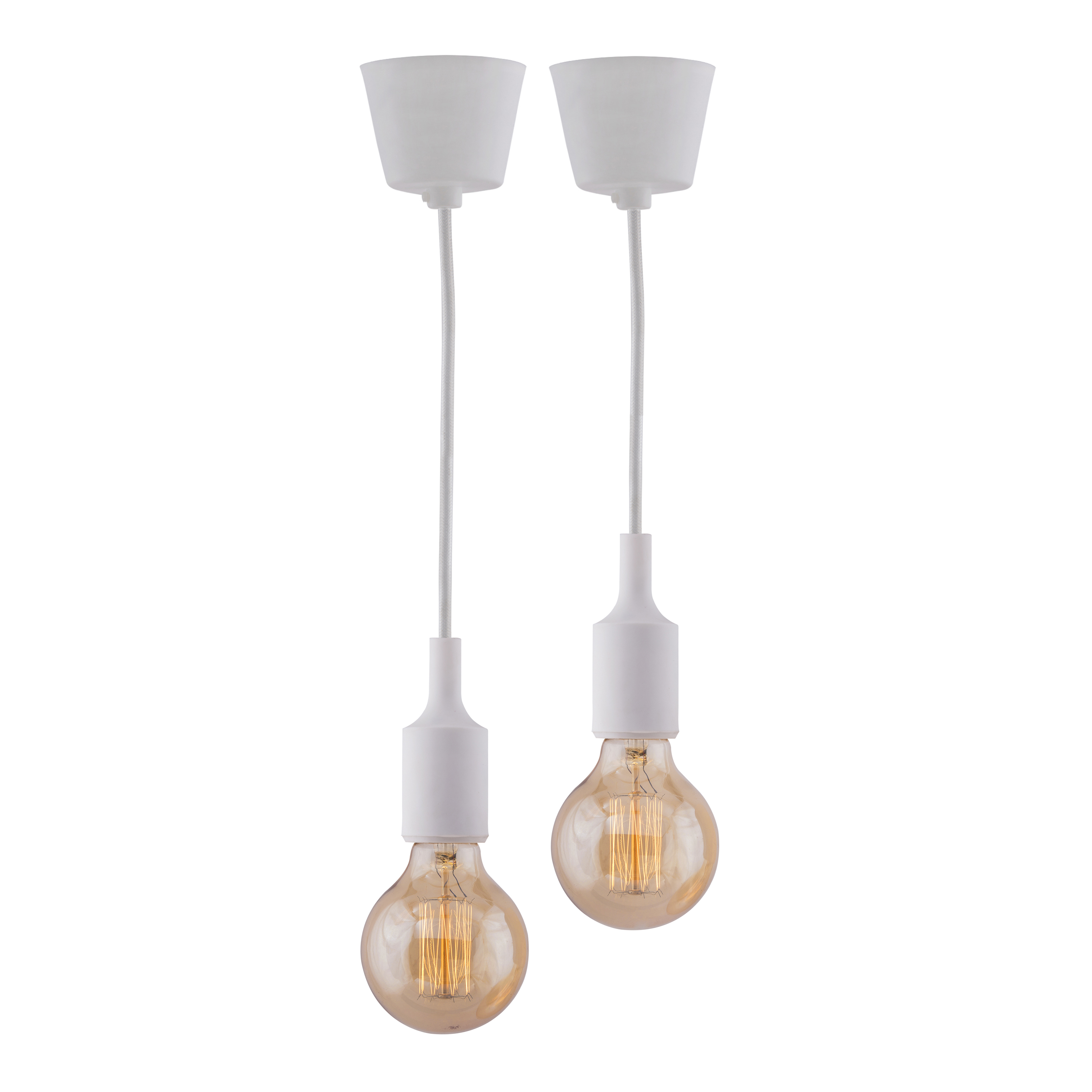2pcs E27 Socket Chandelier Lamp Light Fixture, White Hanging Silicone Holder Adjustable Modern Pendant Ceiling Lamp