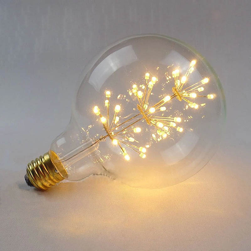 Globe Shape Vintage Edison LED Bulb G95 Firework Round Tree Filament Bulb, E27 Lamp Holder, 3W Edison Star Decoration Bulbs