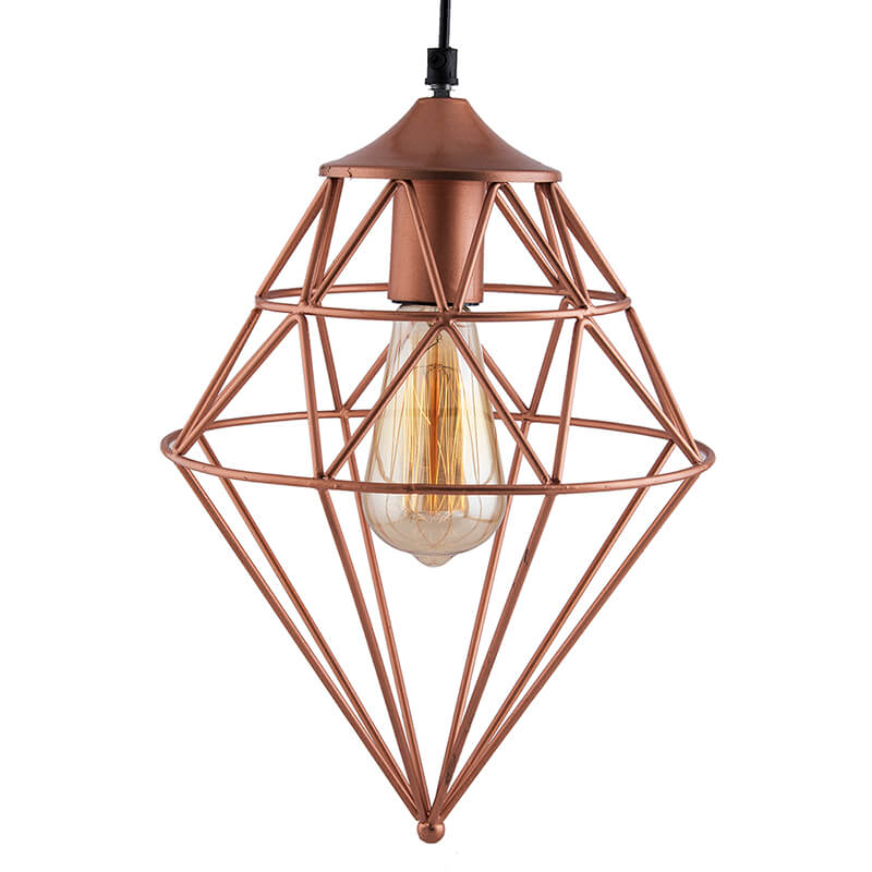 Copper Vintage Edison Filament Hanging Classic Gem , Rose Gold, E27 Hanging Ceiling Light for LED/Filament Bulb, Decorative Urban Retro Lighting