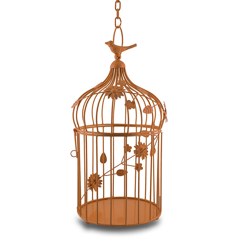 Copper Bird Cage with Floral Vine Large Single, with Hanging Chain